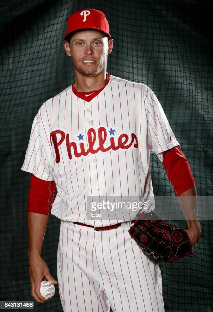 Clay Buchholz of the Philadelphia Phillies poses for a portrait during the Philadelphia Phillies photo day on February 20 2017 at Spectrum Field in...