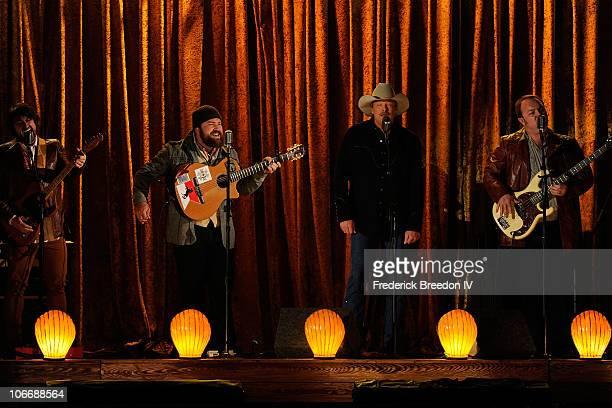 Clay Cook Zac Brown Alan Jackson and John Driskoll Hopkins perform onstage at the 44th Annual CMA Awards at the Bridgestone Arena on November 10 2010...