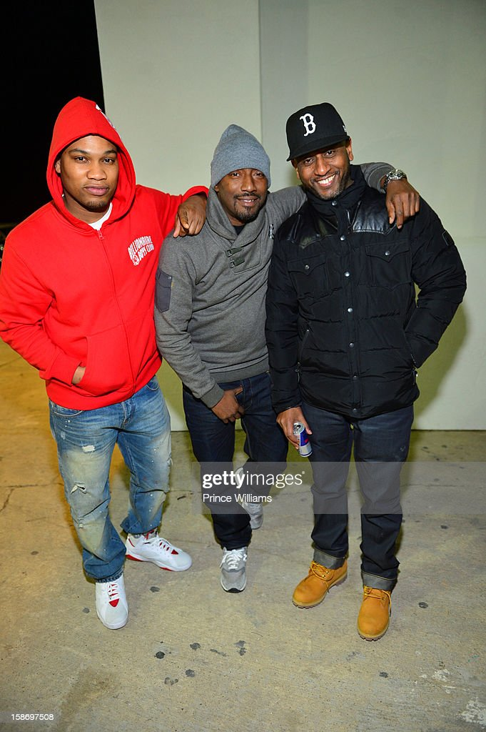DJ MLK, Clay Evans and Alex Gidewon attend T.I. 'Trouble Man Heavy Is The Head' Album Release Party at Compound on December 22, 2012 in Atlanta, Georgia.