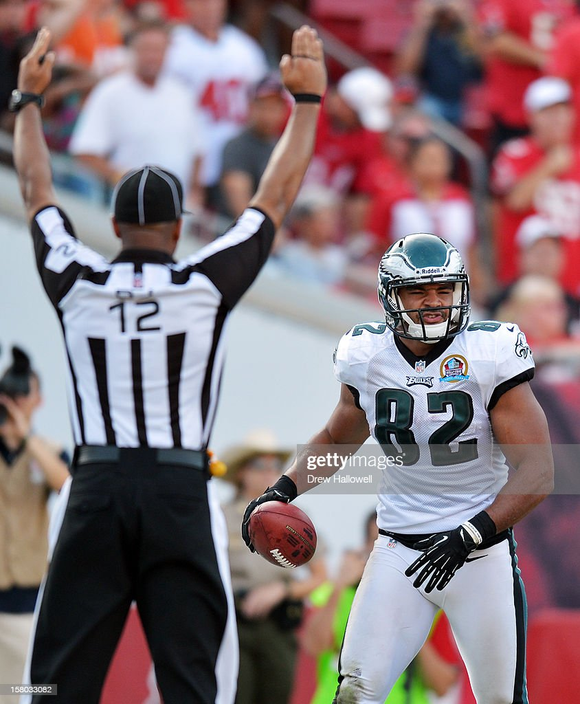 Clay Harbor #82 of the Philadelphia Eagles celebrates a touchdown during the game against the Tampa Bay Buccaneers at Raymond James Stadium on December 9, 2012 in Tampa, Florida. The Eagles won 23-21.