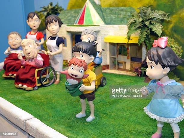 Clay models of the animation movie 'Ponyo on the Cliff by the Sea' are displayed at an exhibition of the movie in Tokyo on July 17 2008 Oscarwinning...
