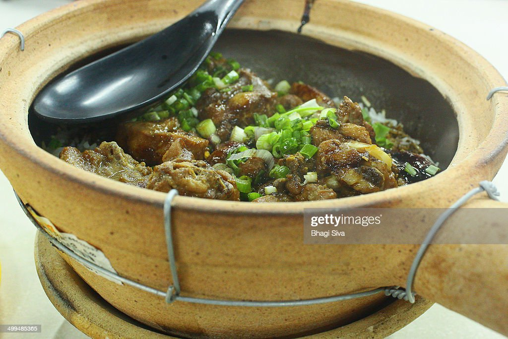 Clay Pot Rice with duck in food courts : Stock Photo