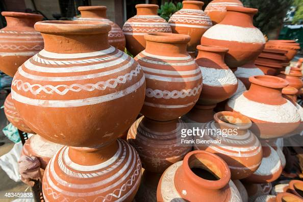 Clay Pots For Storing Water Are Displayed In The Market