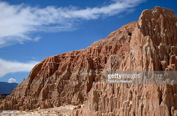 Clay rock formations with sky beyond