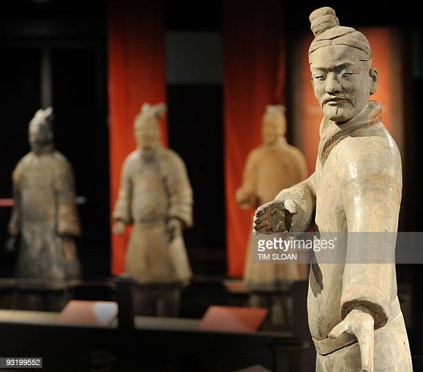 A clay Standing Archer on display is part of 'Terra Cotta Warriors Guardians of China's First Emperor' a National Geographic Society Museum exhibit...