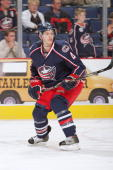 Clay Wilson of the Columbus Blue Jackets skates during pregame warmups before a game against the Chicago Blackhawks on March 26 2008 at Nationwide...