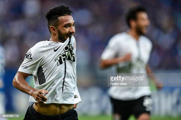 Clayson of Corinthians celebrates a scored goal against Cruzeiro during a match between Cruzeiro and Corinthians as part of Brasileirao Series A 2017...
