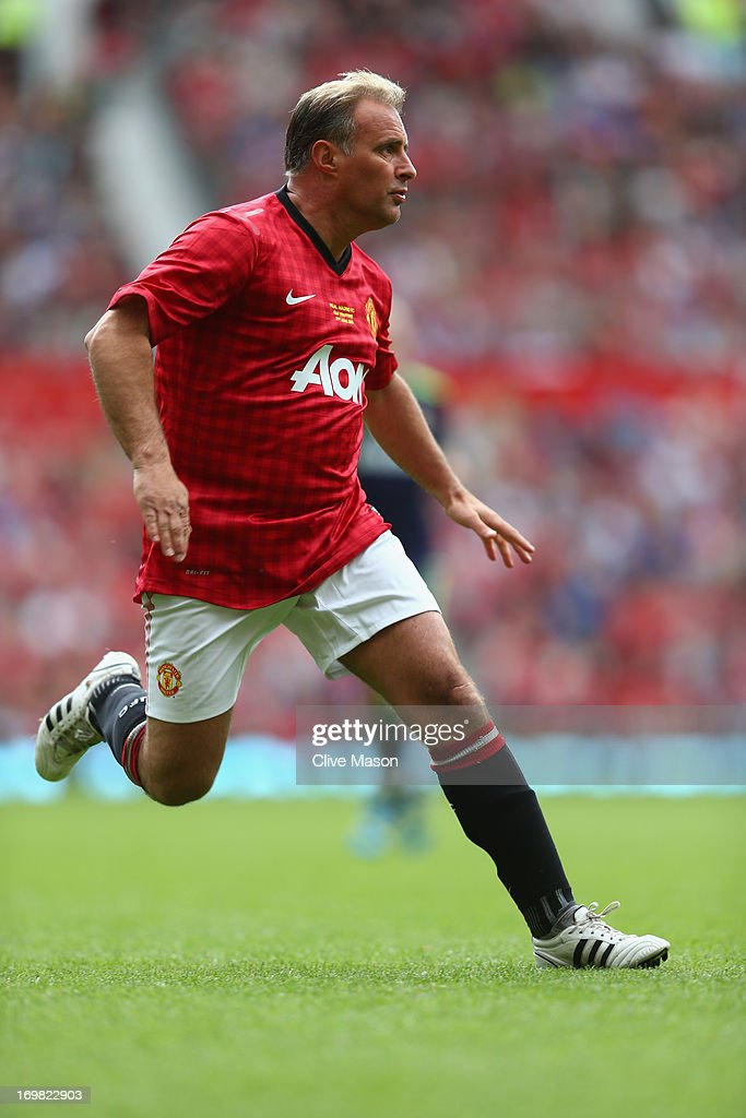 Clayton Blackmore of Manchester United in action during the charity match between Manchester United Legends and Real Madrid Legends at Old Trafford on June 2, 2013 in Manchester, England.