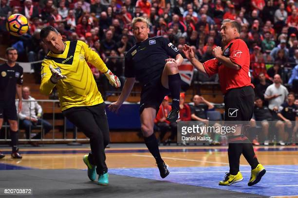 Clayton Blackmore of Manchester United strikes the ball during the match between the ALeague Legends and the Manchester United Legends at Titanium...