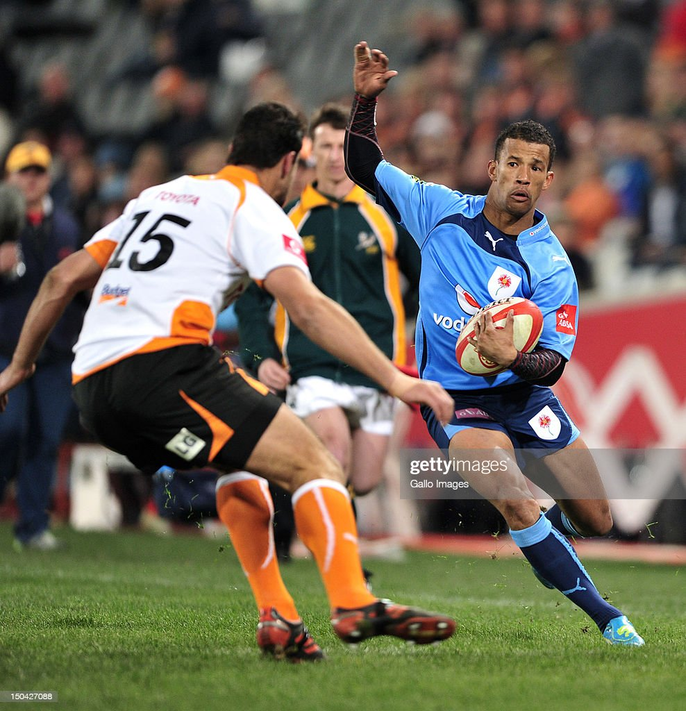 Clayton Blommetjies of the Blue Bulls during the Absa Currie Cup match between Toyota Free State Cheetahs and Vodacom Blue Bulls at Free State Stadium on August 17, 2012 in Bloemfontein, South Africa.