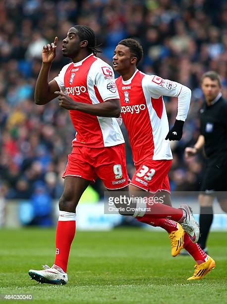 Clayton Donaldson of Birmingham celebrates after scoring the team's first goal of the game during the Sky Bet Championship match between Brighton...