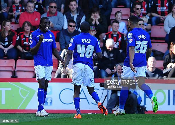 Clayton Donaldson of Birmingham City celebrates after scoring his side's first goal during the Sky Bet Championship match between AFC Bournemouth and...