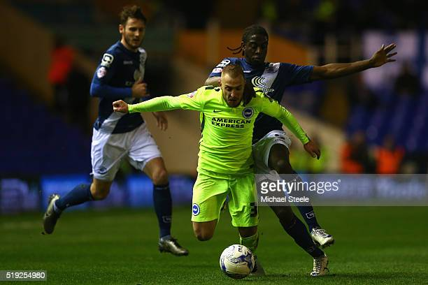 Clayton Donaldson of Birmingham City challenges Jiri Skalak of Brighton and Hove Albion during the Sky Bet Championship match between Birmingham City...