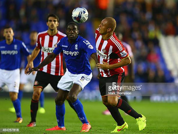 Clayton Donaldson of Birmingham City tangles with Wes Brown of Sunderland during the Capital One Cup second round match between Birmingham City and...