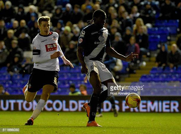 Clayton Donaldson of Birmingham goes past Josh Vela of Bolton during the Sky Bet Championship match between Birmingham City and Bolton Wanderers at...