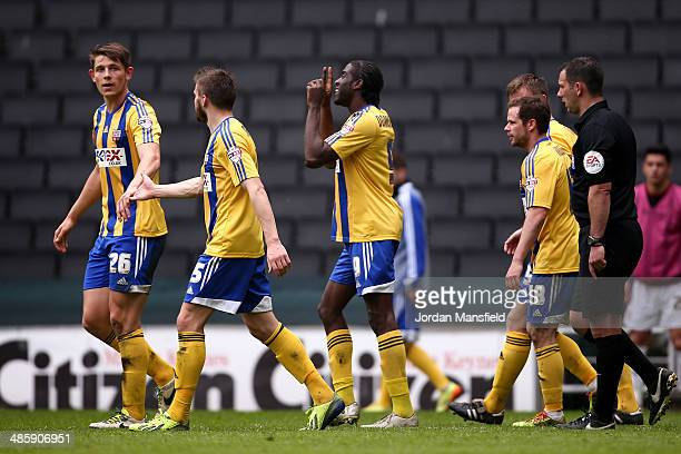 Clayton Donaldson of Brentford FC celebrates after scoring to make it 20 during the Sky Bet League One match between MK Dons and Brentford at Stadium...