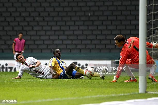 Clayton Donaldson of Brentford FC scores to make it 20 during the Sky Bet League One match between MK Dons and Brentford at Stadium mk on April 21...