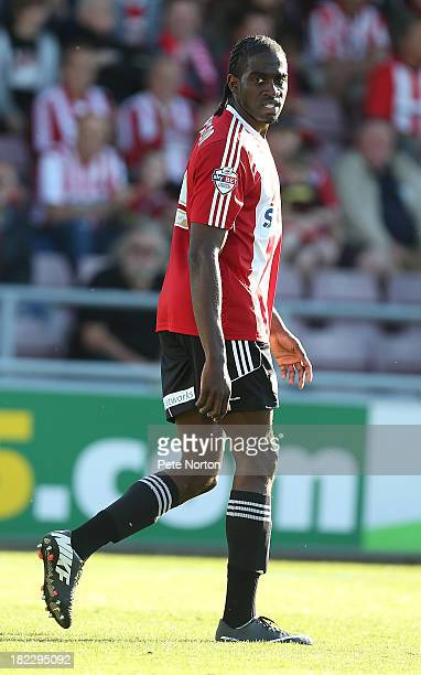 Clayton Donaldson of Brentford in action during the Sky Bet League One match between Coventry City and Brentford at Sixfields Stadium on September 29...