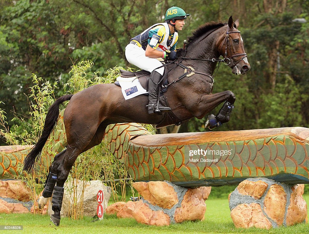 Clayton Fredericks of Australia riding Ben Along Time clears a jump during the Eventing Cross Country event held at the Hong Kong Olympic Equestrian...