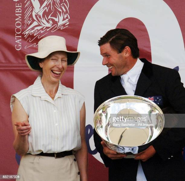 Clayton Fredericks shares a joke with the Princess Royal after being presented with the British Open trophy that he won on Nullarbor at Gatcombe Park...