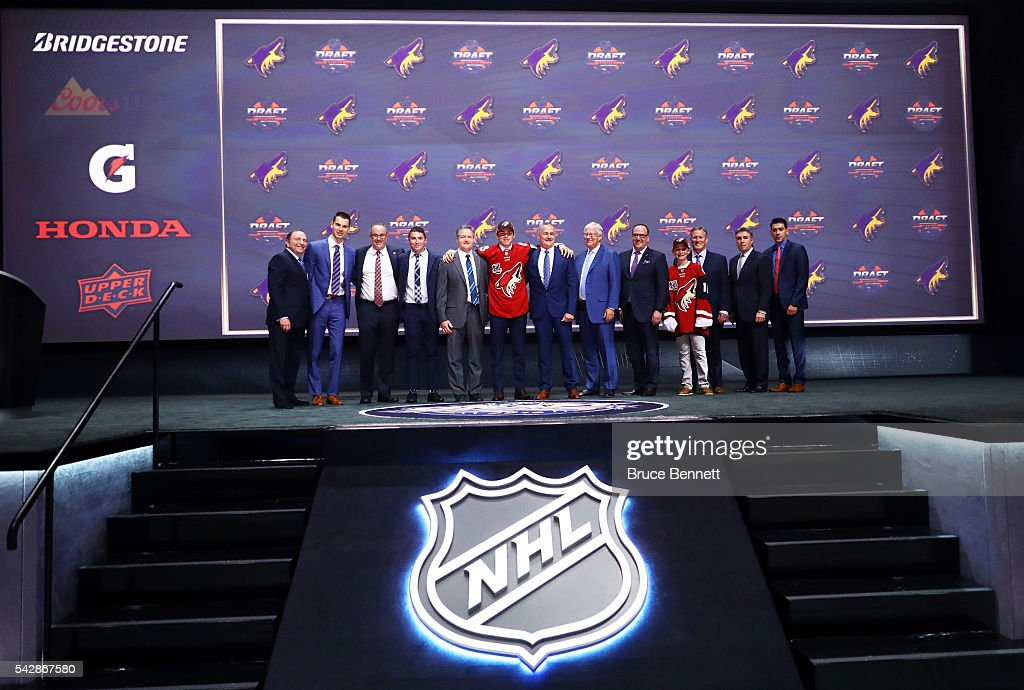 <a gi-track='captionPersonalityLinkClicked' href=/galleries/search?phrase=Clayton+Keller+-+Ice+Hockey+Center&family=editorial&specificpeople=15232437 ng-click='$event.stopPropagation()'>Clayton Keller</a> celebrates with the Arizona Coyotes after being selected seventh overall during round one of the 2016 NHL Draft on June 24, 2016 in Buffalo, New York.