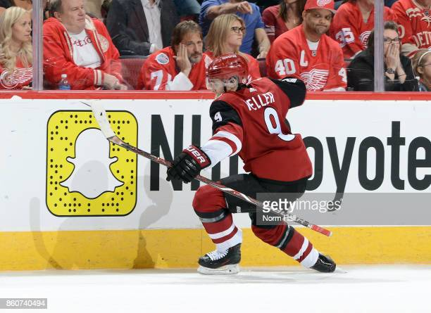 Clayton Keller of the Arizona Coyotes celebrates after scoring a second period goal against the Detroit Red Wings at Gila River Arena on October 12...