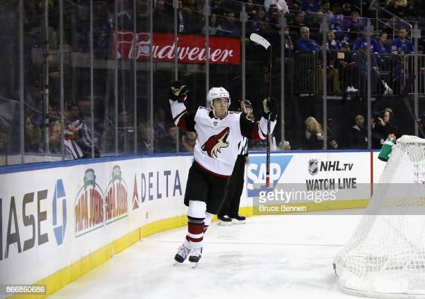 Clayton Keller of the Arizona Coyotes celebrates his powerplay goal at 352 of the third period against the New York Rangers at Madison Square Garden...