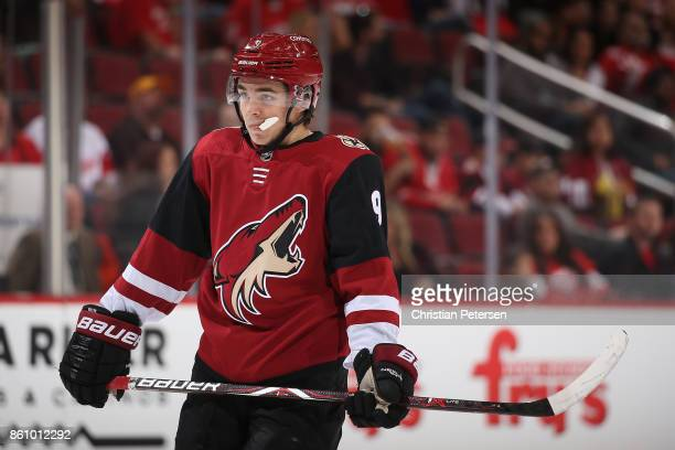 Clayton Keller of the Arizona Coyotes during the first period of the NHL game against the Detroit Red Wings at Gila River Arena on October 12 2017 in...