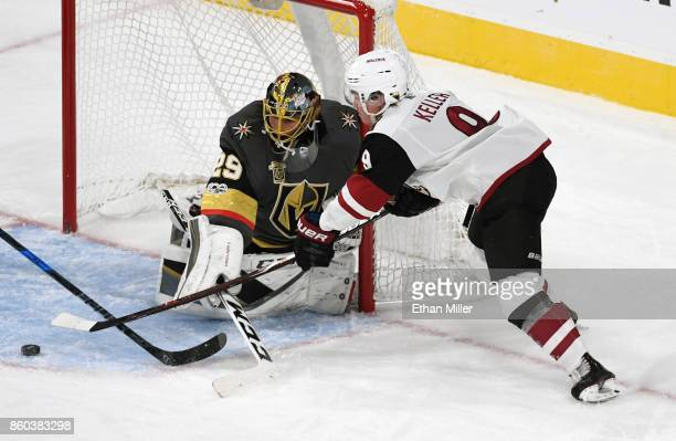 Clayton Keller of the Arizona Coyotes shoots against MarcAndre Fleury of the Vegas Golden Knights during the third period of the Golden Knights'...