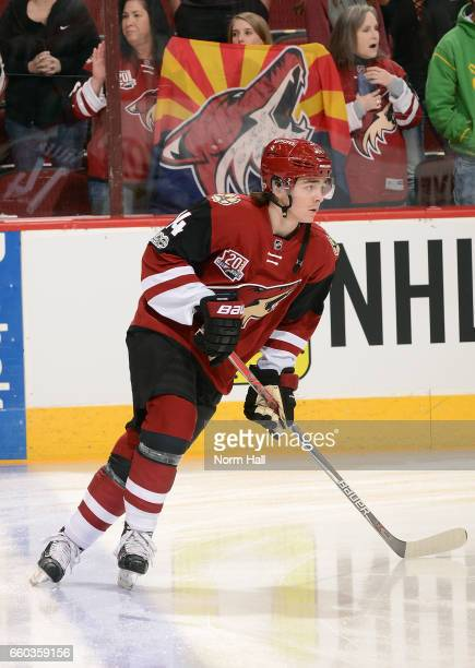 Clayton Keller of the Arizona Coyotes skates before a game against the St Louis Blues at Gila River Arena on March 29 2017 in Glendale Arizona It was...