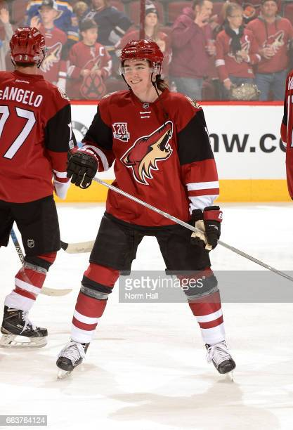 Clayton Keller of the Arizona Coyotes skates before a game against the St Louis Blues at Gila River Arena on March 29 2017 in Glendale Arizona