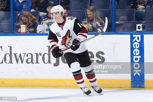 Clayton Keller of the Arizona Coyotes skates during warmups prior to a game against the St Louis Blues on March 27 2017 at Scottrade Center in St...