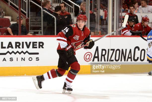 Clayton Keller of the Arizona Coyotes skates up ice against the St Louis Blues at Gila River Arena on March 29 2017 in Glendale Arizona