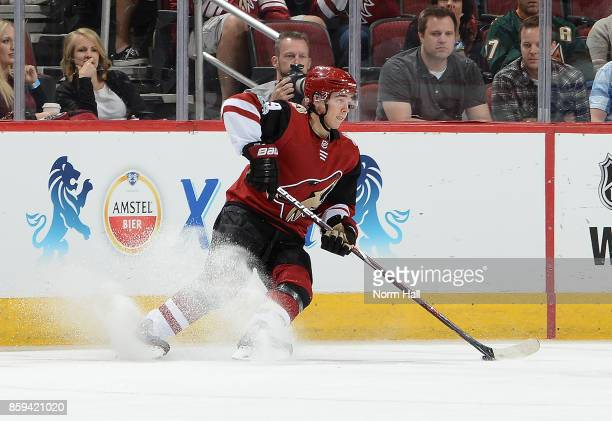 Clayton Keller of the Arizona Coyotes skates with the puck against the Vegas Golden Knights at Gila River Arena on October 7 2017 in Glendale Arizona