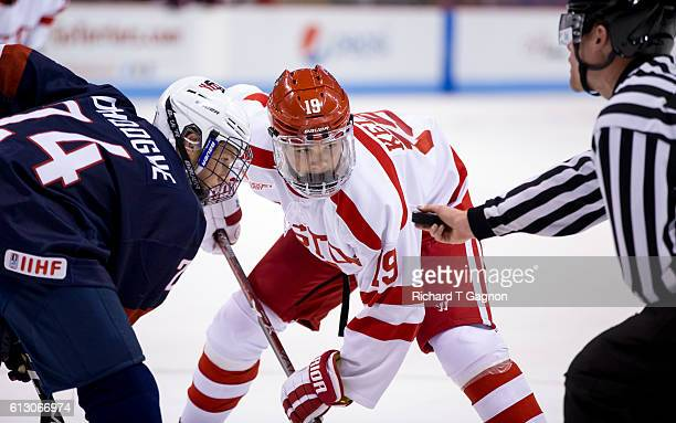Clayton Keller of the Boston University Terriers skates against the US National Under18 Team during NCAA exhibition hockey at Agganis Arena on...