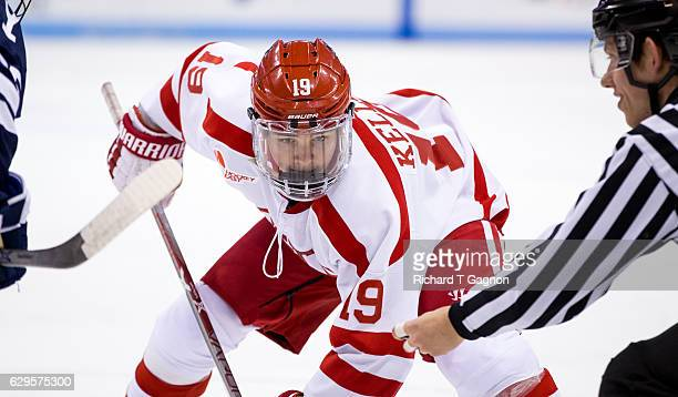 Clayton Keller of the Boston University Terriers skates against the Yale Bulldogs during NCAA hockey at Agganis Arena on December 13 2016 in Boston...