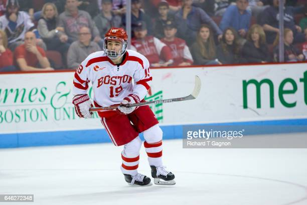 Clayton Keller of the Boston University Terriers skates against the Notre Dame Fighting Irish during NCAA men's hockey at Agganis Arena on February...