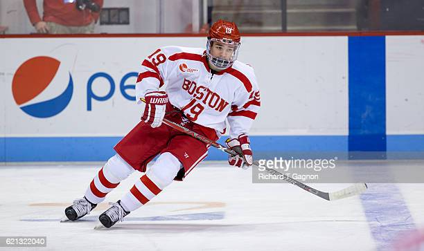 Clayton Keller of the Boston University Terriers skates during warm ups before a game against the Northeastern Huskies during NCAA hockey at Agganis...