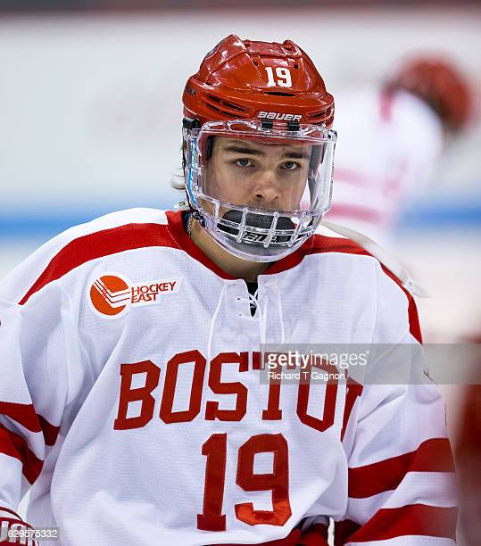 Clayton Keller of the Boston University Terriers warms up before an NCAA hockey game against the Yale Bulldogs at Agganis Arena on December 13 2016...