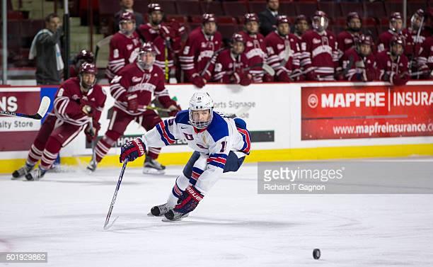 Clayton Keller of the USA National Junior Team skates against the Massachusetts Minutemen during NCAA hockey action at the Mullins Center on December...