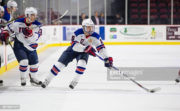 Clayton Keller of the USA National Junior Team skates during NCAA exhibition hockey against the Massachusetts Minutemen at the Mullins Center on...