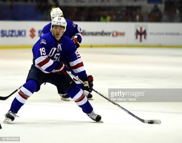Clayton Keller of USA in action during the Hockey test match beteween Italy and USA on May 2 2017 in Milan Italy
