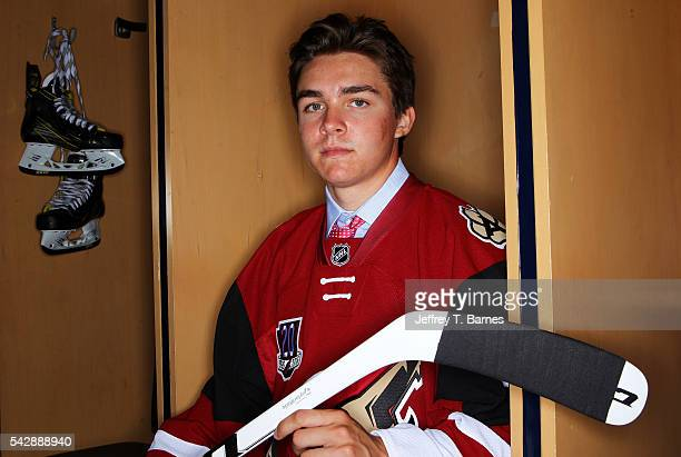 Clayton Keller poses for a portrait after being selected seventh overall by the Arizona Coyotes in round one during the 2016 NHL Draft on June 24...
