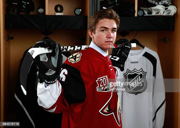Clayton Keller selected seventh overall by the Arizona Coyotes poses for a portrait during round one of the 2016 NHL Draft at First Niagara Center on...