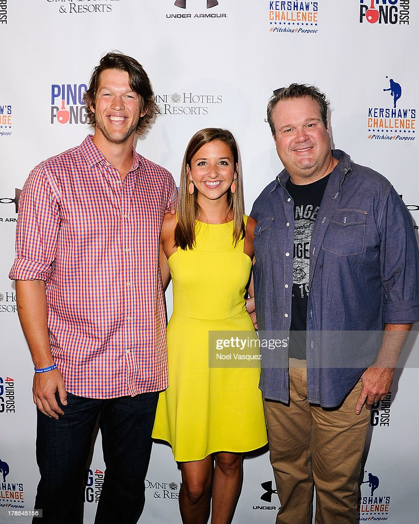 <a gi-track='captionPersonalityLinkClicked' href=/galleries/search?phrase=Clayton+Kershaw&family=editorial&specificpeople=4391635 ng-click='$event.stopPropagation()'>Clayton Kershaw</a>, Ellen Kershaw and <a gi-track='captionPersonalityLinkClicked' href=/galleries/search?phrase=Eric+Stonestreet&family=editorial&specificpeople=6129010 ng-click='$event.stopPropagation()'>Eric Stonestreet</a> attend <a gi-track='captionPersonalityLinkClicked' href=/galleries/search?phrase=Clayton+Kershaw&family=editorial&specificpeople=4391635 ng-click='$event.stopPropagation()'>Clayton Kershaw</a>'s inaugural Ping Pong 4 Purpose at Dodger Stadium on August 29, 2013 in Los Angeles, California.
