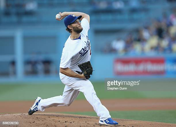 Clayton Kershaw of of the Los Angeles Dodgers throws a pitch against the Atlanta Braves at Dodger Stadium on June 4 2016 in Los Angeles California