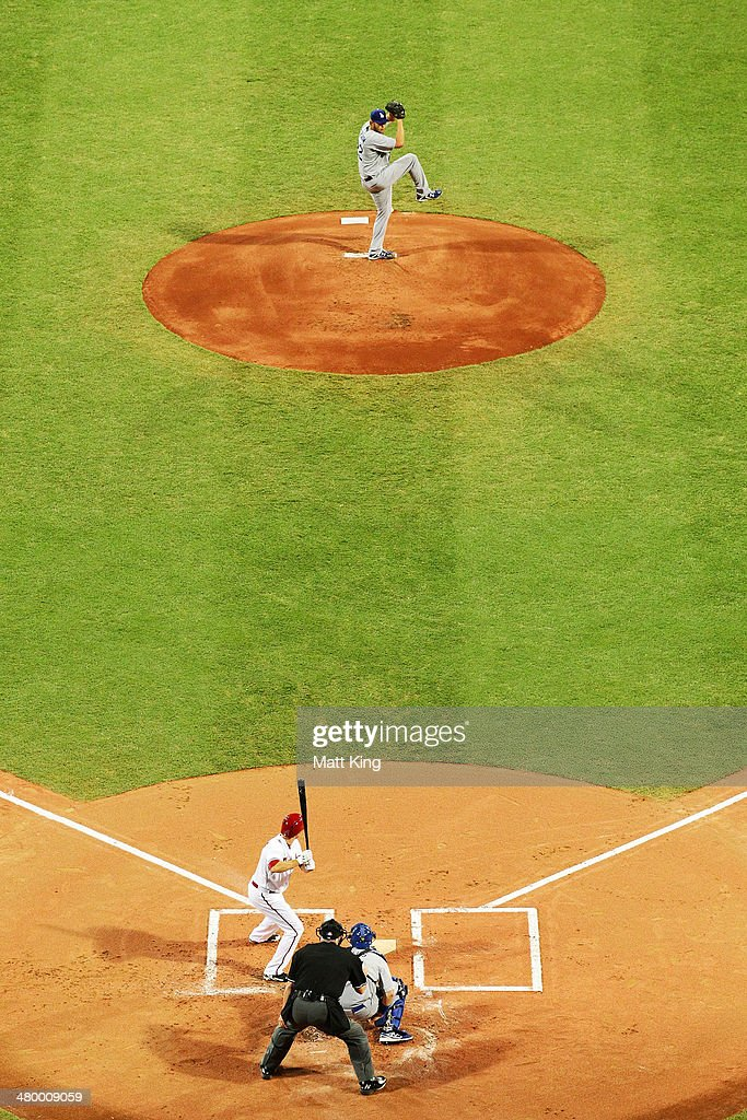 Clayton Kershaw of the Dodgers pitches during the opening match of the MLB season between the Los Angeles Dodgers and the Arizona Diamondbacks at Sydney Cricket Ground on March 22, 2014 in Sydney, Australia.