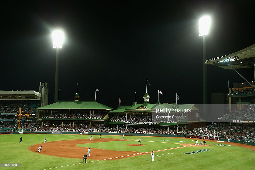 Clayton Kershaw of the Dodgers pitches to Paul Goldschmidt of the Diamondbacks during the opening match of the MLB season between the Los Angeles Dodgers and the Arizona Diamondbacks at Sydney Cricket Ground on March 22, 2014 in Sydney, Australia.