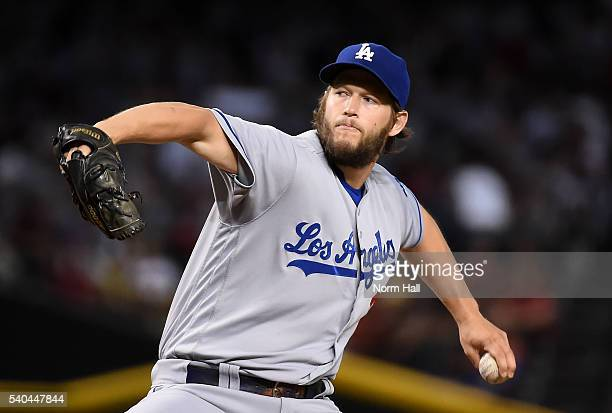 Clayton Kershaw of the Los Angeles Dodgers delivers a first inning pitch against the Arizona Diamondbacks at Chase Field on June 15 2016 in Phoenix...