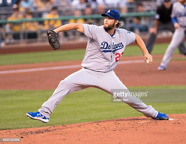 Clayton Kershaw of the Los Angeles Dodgers delivers a pitch in the first inning during the game against the Pittsburgh Pirates at PNC Park on June 26...